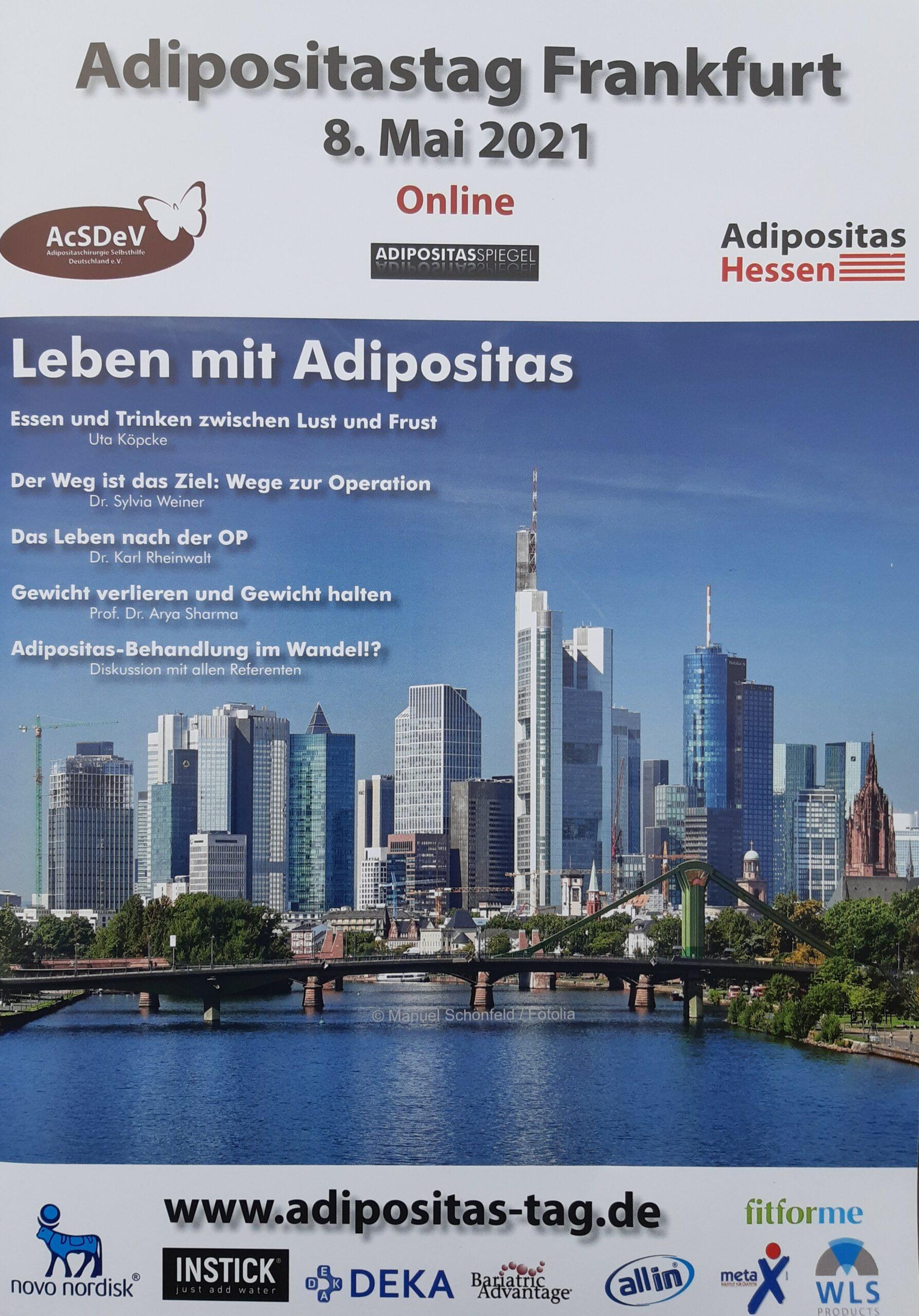 Foto Adipositastag Frankfurt am 08.05.2021, die Skyline von Frankfurt und die Titel der Vorträge sind zu sehen.