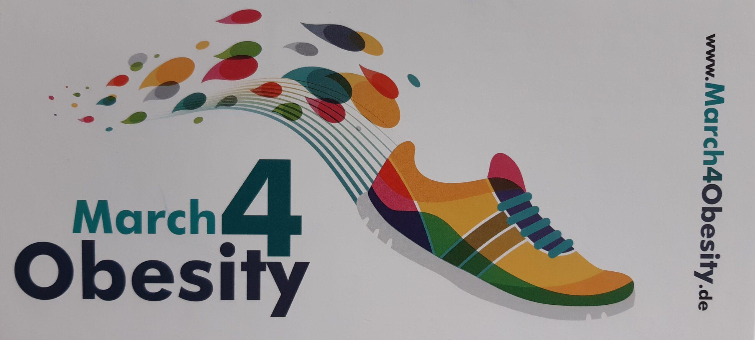 Foto March4Obesity Eine Abbildung von einem bunter Turnschuh in Bewegung mit farbigen Tropfen als Laufbewegung